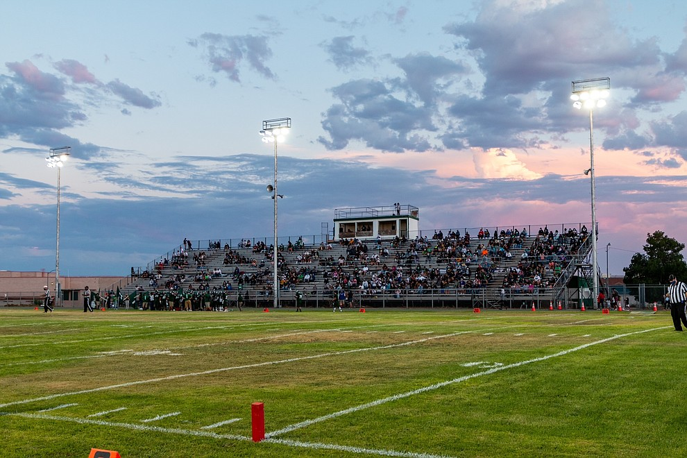 Blue Canyon Memorial Stadium in Tuba City, Arizona fills with fans prior to kickoff Aug. 27. (Gilbert Honanie/NHO)
