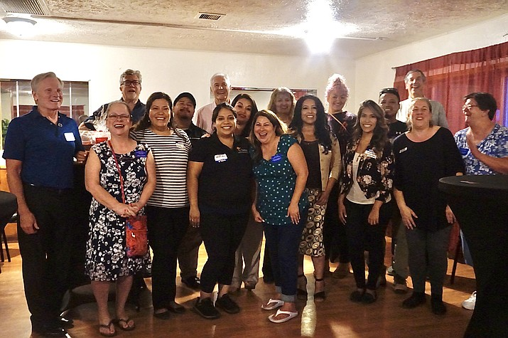 Representatives from the Chino Valley Chamber of Commerce, the Better Business Bureau, Alianza Spanish News, SCORE and other community members stand together for a photo during a Hispanic Business Mixer on Thursday, Aug. 26, 2021, at El Paraiso Mexican-Italian Restaurant. (Aaron Valdez/Review)