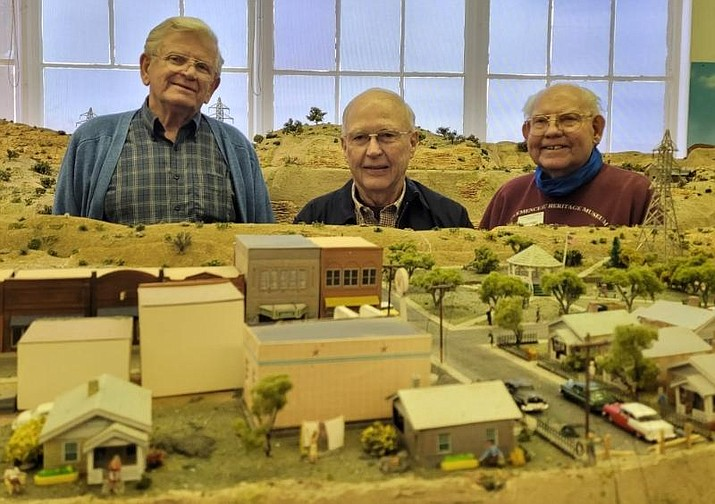 Bob Lanning, right, chair of the railroad committee, is shown with his volunteer engineer team, Jack George, left, and Kelly Sommers, middle, all of whom operate the trains in the Verde Valley Railroad Diorama Exhibit located in the Clemenceau Heritage Museum. (Isabel Erickson/Courtesy)