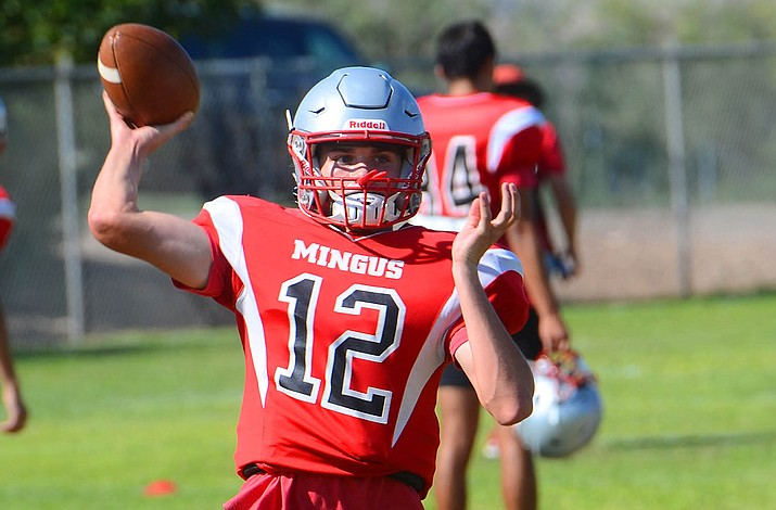 """Quarterback Zach Harrison (12) returns for his senior season in 2021 to a Mingus team that has gone 1-16 in the past two years. But Harrison, along with new coach Dave Moncibaez, hope to return """"Marauder pride"""" back to Mingus. (Vyto Starinskas/Independent)"""
