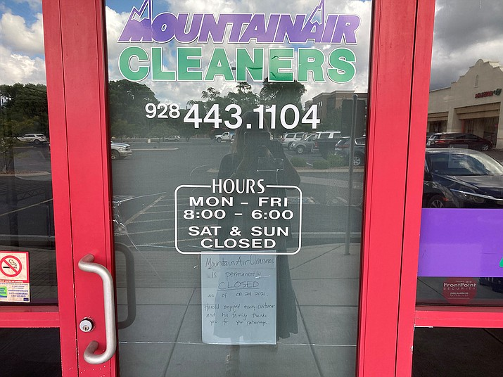 MoutainAire Cleaners in the Depot Marketplace on Sheldon Street in Prescott has closed permanantly. (Nanci Hutson/Courier)