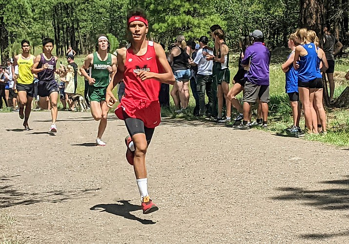 Mingus junior Cesar Diaz claimed top individual honors in the elite Summit Race at the Peaks Cross-Country Invitational on Saturday, Sept. 4, 2021. Diaz clocked in at 17:22.27 for the 5,000-meter course to put a 44-second gap between himself and runner-up Noah Fleming of Sandra Day O'Connor. (Dan Engler/Courtesy)