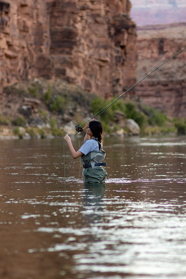 Kristy Honanie, 14, flyfishes at the world renowned Lees Ferry on the Colorado River. Lees Ferry is a well known trout tail water fishery below Glen Canyon Dam in Glen Canyon National Recreation Area. (Gilbert Honanie/NHO)