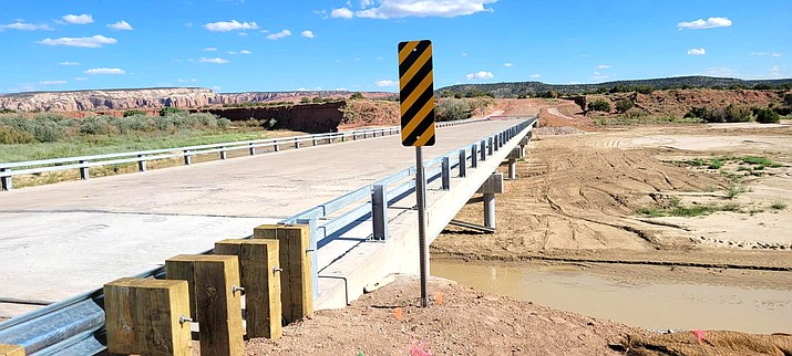 A new bridge was recently constructed along Navajo Route 9402 near the community of Tsé Si áni, Arizona. (Photos/Office of the Navajo President and Vice President)