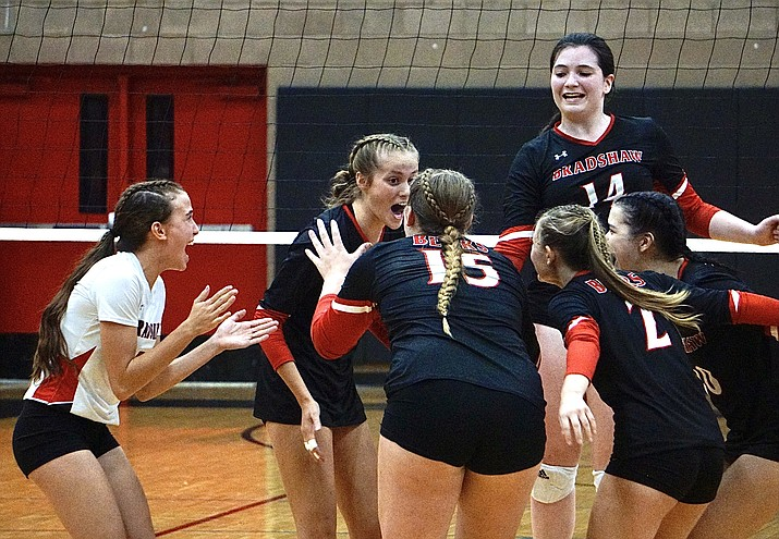 Bradshaw Mountain volleyball celebrates after scoring a point during a match against Prescott on Tuesday, Sept. 7, 2021, in Prescott Valley. (Aaron Valdez/Courier)