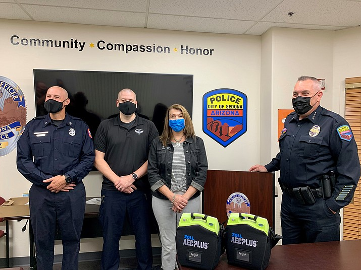From left to right: Captain Joshua Wells of the Sedona Fire District, Brandon Griffith, Founder/CEO of Griffith Blue Heart, Jennifer Perry from the Arizona Community Foundation and Chief Charles Husted of the Sedona Police Department. (City of Sedona/Courtesy)