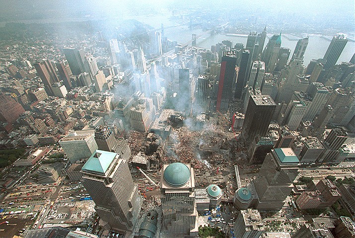 This official government photo shows the remains of the World Trade Center in New York City after the terror attacks on Sept. 11, 2001. (Photo by U.S. Department of Homeland Security/Public domain)