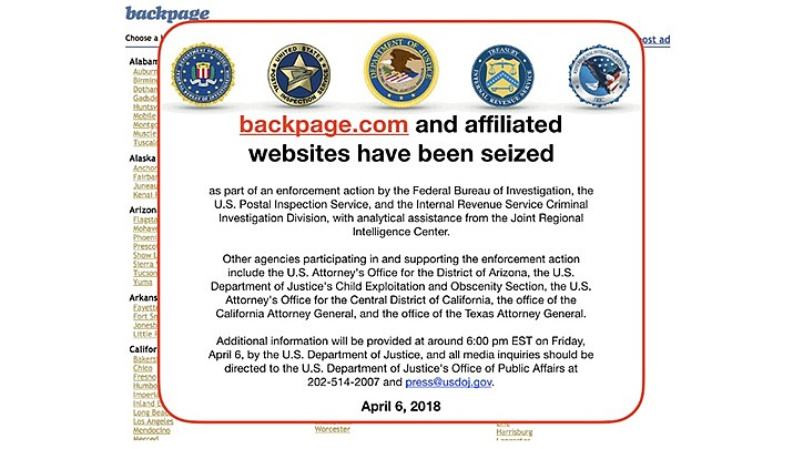 Defense lawyers say First Amendment protections apply to prostitution ads placed on the classified ad website Backpage.com. The owners are standing trial, and the proceedings are expected to take two months or more. (Screenshot)