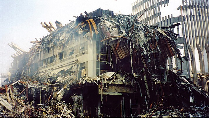 The United States on Saturday, Sept. 11 observed the 20th anniversary of the Sept. 11, 2001 terrorist attacks on the nation. The remains of the World Trade Center towers are shown in this 2001 photo. (Photo by Kafziel, cc-by-sa-3.5, https://bit.ly/3lj6vxp)