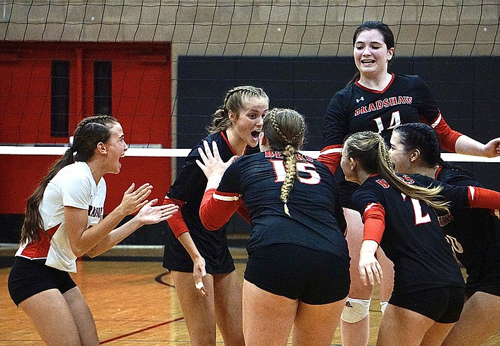Bradshaw Mountain volleyball celebrates after scoring a point during a match against Prescott on Tuesday, Sept. 7, 2021, in Prescott Valley. Bradshaw returned to action Thursday and beat Mingus for its second straight match win. (Aaron Valdez/Courier)
