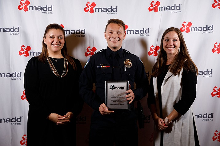 """Cottonwood Police Department Officer Austin Perez was recently named the 2021 """"MADD"""" Officer of the Year. Perez accounted for more than 20% of all DUI arrests for the entire police department in the past year. (Cottonwood PD/Courtesy)"""