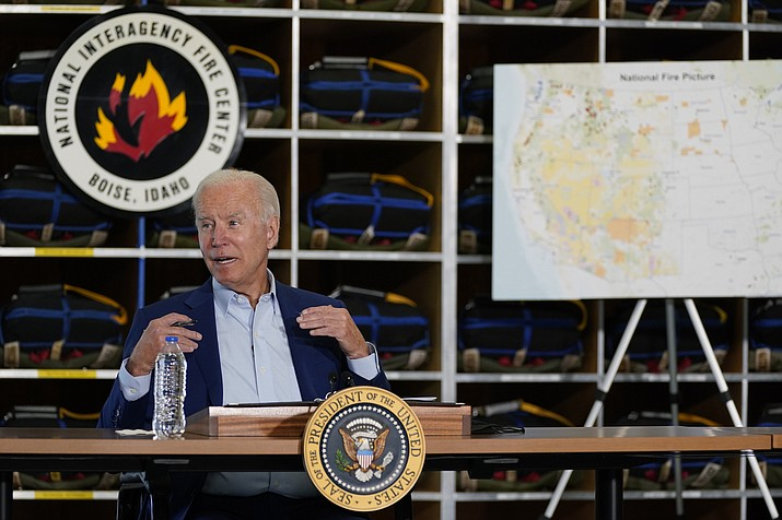 President Joe Biden speaks during a visit to the National Interagency Fire Center, Monday, Sept. 13, 2021, in Boise, Idaho. (Evan Vucci/AP)
