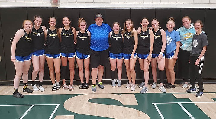 The Prescott badminton team takes a photo after placing fourth at the Basha Birdie Bash, hosted by Basha High School in Chandler, over the weekend. (Prescott Athletics/Courtesy)