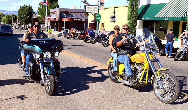 This 2019 file photo shows a couple of bikers coming into Old Town Cottonwood for the annual Thunder Valley Rally Music Festival. This annual event is scheduled for Friday and Saturday, Sept. 17 and 18, 2021, and the City of Cottonwood, along with the Cottonwood Police Department, announced a closure of Riverfront Park and its traffic plan for the busy weekend. (Vyto Starinskas/Independent, file)