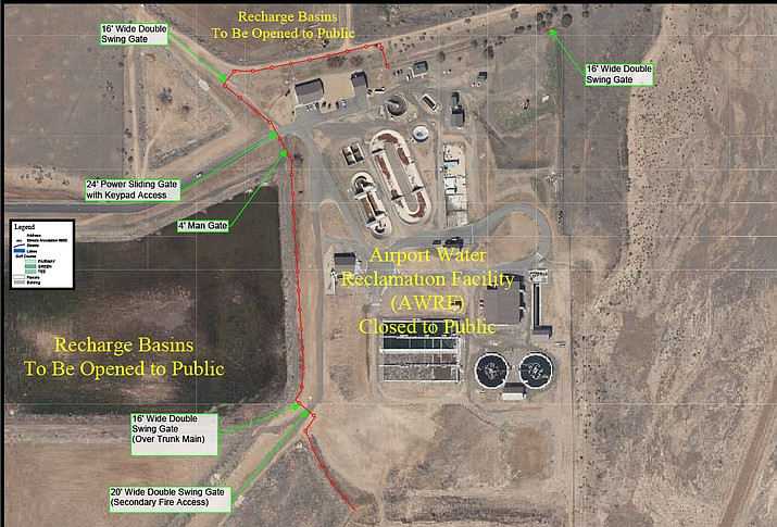 Shown in red is a proposed fence around the water reclaimation facility near Prescott Airport. Prescott City Council Tuesday allocated $119,000 for the fence to be installed so birders can gather. (City of Prescott/Courtesy)