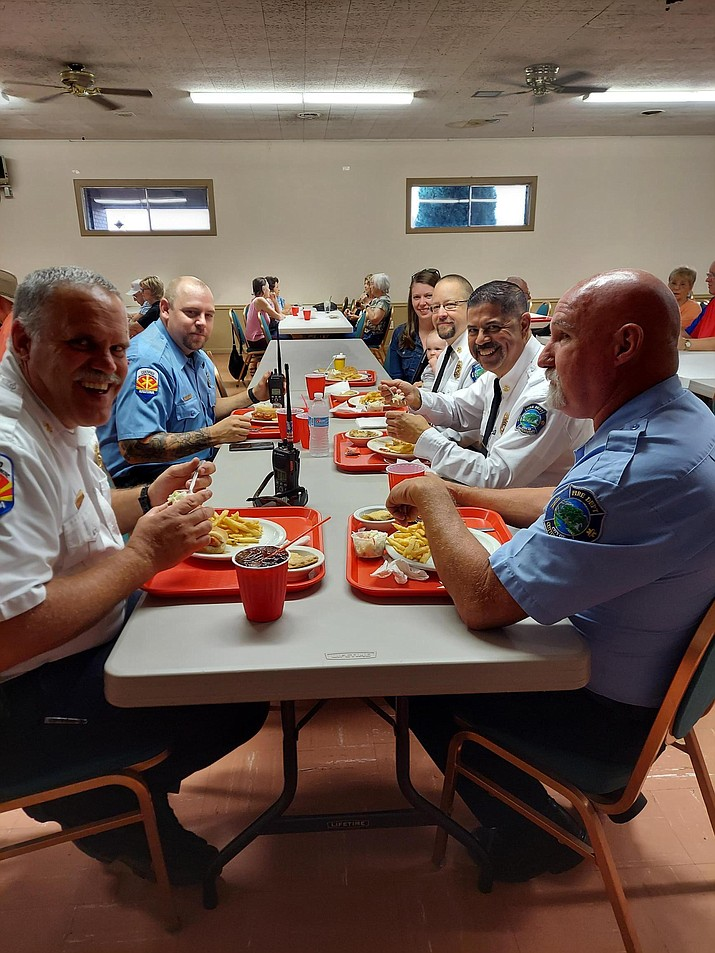 """On Sept. 9, 2021, the Jerome Elks Lodge welcomed Verde Valley first responders for a free dinner at the lodge in effort to """"thank"""" them for their service, according to a news release. Yavapai College Police Department Officer Travis Munday, along with five members of the Cottonwood Fire Department, were in attendance. For information about the Jerome Elks Lodge, email charyll@ctmckean.com. (Charyll McKean/Courtesy)"""