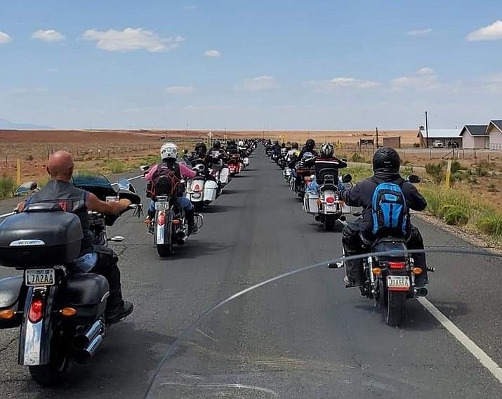 Navajo Hopi Honor Riders in Leupp, Arizona on their way to Window Rock to honor fallen heroes during the 19th  annual Lori Piestewa Navajo Hopi Honor Run. (Photo/NHHR)
