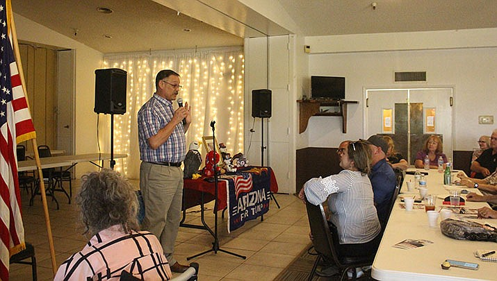 Former U.S. President Donald Trump has endorsed Tucson-area Rep. Mark Finchem in the Republican primary for Arizona secretary of state. Finchem is shown speaking to the Conservative Republican Club of Kingman in June 2021. (Miner file photo)