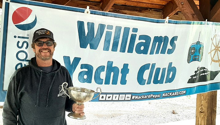 Williams Yacht Club held its 2021 Regatta & Cataract Cup remote control boat race July 24 at Kaibab Lake in Williams. Kenn McKinney won the race. This is his second time winning the title after winning it in 2019. (Photo/Williams Yacht Club)