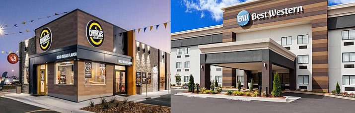 Two rendered images of the Church's Chicken, left, and the Best Western hotel, right, that will be built at the southeast corner of Navajo and Eastridge drives along with a retail/office space in east Prescott Valley after the Town Council unanimously approved the final development plan for the project Sept. 9. (Town of Prescott Valley/Courtesy)
