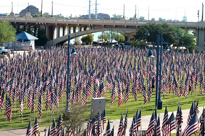 The Tempe Healing Fields pays tribute to those who died as a result of the Sept. 11, 2001, terrorist attacks in New York City; Washington, D.C.; and Shanksville, Pennsylvania. (Photo by Sierra Alvarez/Cronkite News)