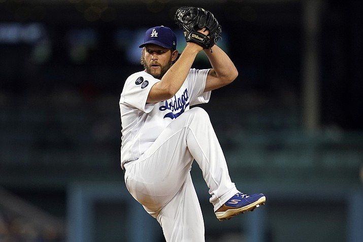 Los Angeles Dodgers starting pitcher Clayton Kershaw throws to an Arizona Diamondbacks batter during the first inning of a baseball game Monday, Sept. 13, 2021, in Los Angeles. (Marcio Jose Sanchez/AP)