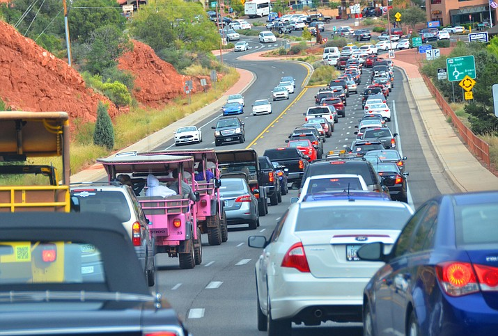 """In this undated file photo, traffic backs up along State Route 89A near the """"Y"""" roundabout in Sedona. The Arizona Department of Transportation is scheduled to begin a project in the City of Sedona that will """"modernize"""" the intersection of State Routes 89A and 179. (Independent file photo)"""