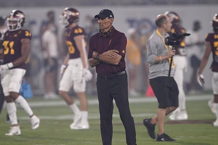 Arizona State head coach Herm Edwards watches warm ups prior to an NCAA college football game against UNLV, Saturday, Sept. 11, 2021, in Tempe. (Matt York/AP)