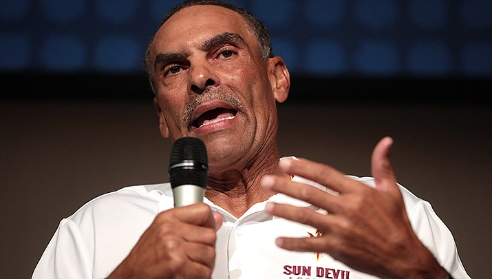 Coach Herm Edwards and his Arizona State Sun Devils, ranked No. 19 in the nation, travel to Brigham Young University to play the No. 23 Cougars on Saturday, Sept. 18. (Photo by Gage Skidmore, cc-by-sa-2.0, https://bit.ly/3ApcBSY)