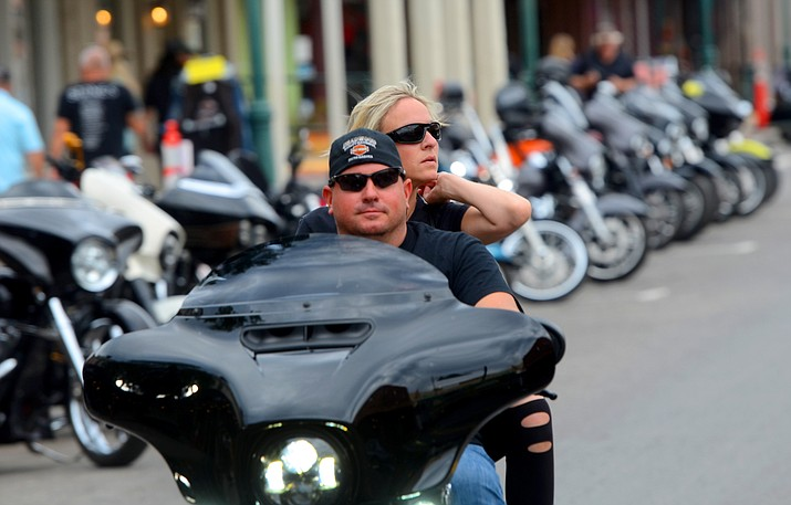 A couple rides through Old Town Cottonwood on Friday, Sept. 17, 2021, to attend the 20th annual Thunder Valley Rally. This year's festivities include concerts at Riverfront Park and Main Stage, and THAT Brewery partners with the city to have live music and programming throughout the two-day event Friday and Saturday, Sept. 18. (Vyto Starinskas/Independent)