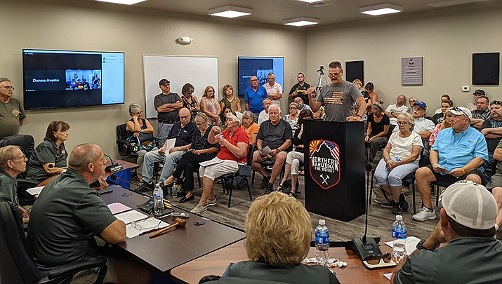 The Northern Arizona Fire District saw no shortage of participation at its public hearing Thursday, Sept. 16 regarding the proposed formation of a new district for the Valle Vista, Hackberry and Truxton areas. (Photo by Travis Rains/Kingman Miner)