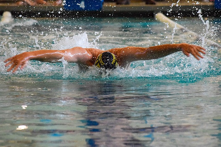 Prescott boys swimmer Micah Buettner won the 200 freestyle in 2 minutes and 8.63 seconds and the 100 butterfly in 1:05.13 (seen here) in a home meet against rival Bradshaw Mountain and Shadow Mountain of Phoenix Sept. 16, 2021, at the Prescott YMCA. (Prescott swimming/Courtesy)