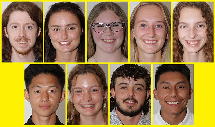 Clockwise: Jeffrey Holmes, Sedona Red Rock High School; Louise Taylor, SRRHS; Rebecca Pond, SRRHS; Sarah Frey, SRRHS; Serenity McFarland, SRRHS; Shota Yabuchi, SRRHS; Anna Shimkus, Verde Valley School; Quintin O'Grady, Camp Verde High School; and Retief Tapija, Mingus Union High School, are nine finalists for the inaugural Youth Salute Program. The finale is scheduled for Wednesday, Sept. 22, 2021, in Sedona, where these nine high school students will speak in front of a panel of judges for a chance at a $500 scholarship award. (YSP/Courtesy)