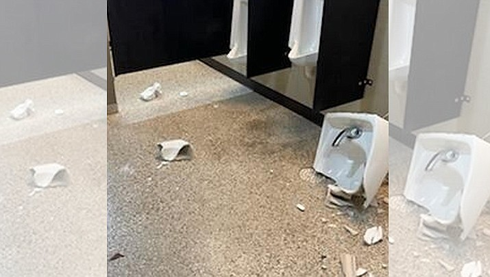 """An example of damage from a nationally viral TikTok social media challenge — dubbed the Devious Lick TikTok Challenge. """"Devious lick"""" is slang for stealing school property and destroying or vandalizing school bathrooms, all for likes and follows. (CBS News/Courtesy)"""