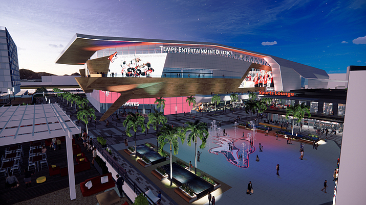 A rendering of the potential arena in Tempe, which would serve as the Arizona Coyotes' new home after the City of Glendale did not renew the team's contract at the Gila River Arena. (Arizona Coyotes/Courtesy)