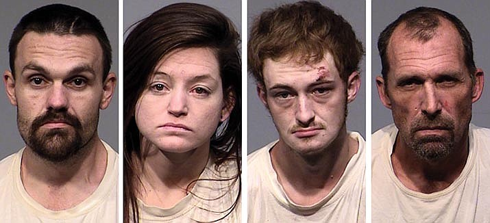 From left to right: Cory Sanks, Bobbi Baysinger, Melvin Sloan and Richard Hill were arrested on a multitude of charges Monday, Sept. 20, 2021, after Verde Valley SWAT and PANT served a search warrant at a home on Hollaman Road in Camp Verde. (YCSO/Courtesy)