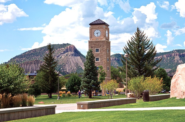 Twelve panels were removed Sept. 6 from the Fort Lewis College clocktower. (Photo courtesy of Colorado Mountain College)