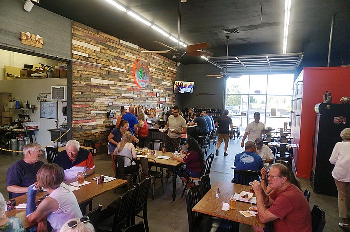 The remodeled interior of Insurgent Brewing Co. in Chino Valley entrance during the reveal event on Thursday, Sept. 16, 2021. (Aaron Valdez/Review)