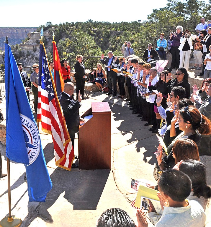Twenty-three individuals became naturalized citizens Sept. 23 during a naturalization ceremony at Mather Amphitheater on the South Rim of Grand Canyon National Park. (Photos/NPS)