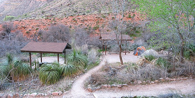 Indian Garden Campground on the Bright Angel Trail. Grand Canyon National Park is working to change the name from Indian Garden to Havasupai Garden. The area is considered sacred to the Havasupai people, who were forcibly relocated from the area. (Photo/NPS, Mike Quinn)