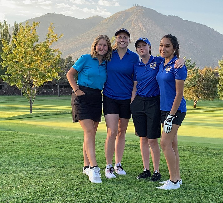 Prescott girls golf takes a photo together after taking first place in a match against Bradshaw Mountain and Vista Grande on Monday, Sept. 21, 2021, at Antelope Hills Golf Course. (Debbie Fitzgerald/Courtesy)