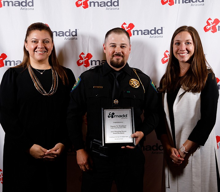Camp Verde Marshal's Office Deputy Ty Wantland has won the Mothers Against Drunk Driving award three straight years. He was honored Aug. 19, 2021, in Phoenix. (CVMO/Courtesy)