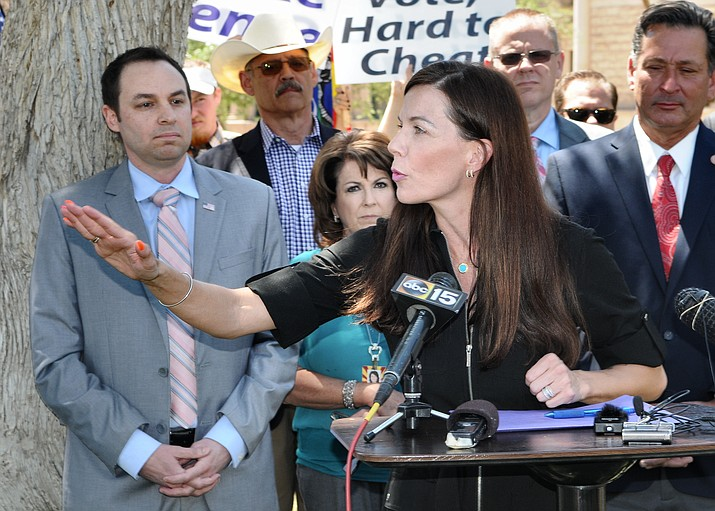 """Sen. Michelle Ugenti-Rita pushed to rescind the extra ADOT charge of $32 some 200,000 Arizona drivers. About $6.6 million is going out to people whose sent in vehicle registration renewals for the period beginning July 1, 2021. But ADOT charged them a $32 """"public safety fee"""" even though the law said that fee was supposed to end on June 30. (Howard Fischer/Capitol Media Services, file)"""