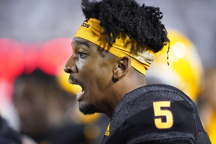 Arizona State quarterback Jayden Daniels (5) looks on from the sidelines in the second half during an NCAA game against BYU Saturday, Sept. 18, 2021, in Provo, Utah. (Rick Bowmer/AP)