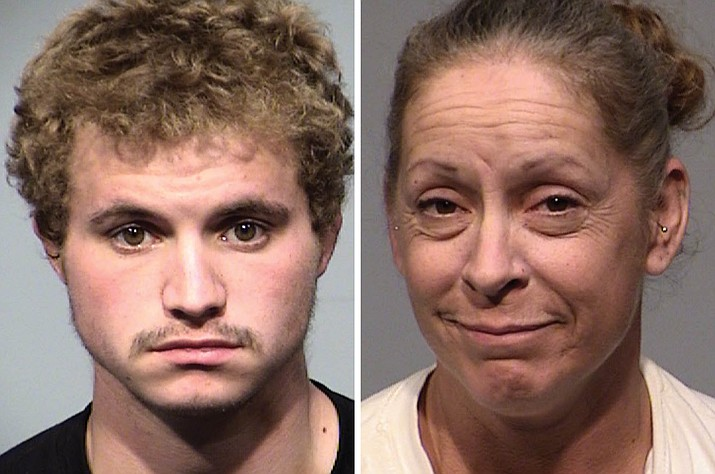 Gavin Duval, 19, of Cottonwood, left, and 47-year-old Cottonwood resident Melissa Peterson were arrested Tuesday, Sept. 21, 2021, for allegedly committing burglary together. Duval has been accused of car theft. (Cottonwood PD/Courtesy)