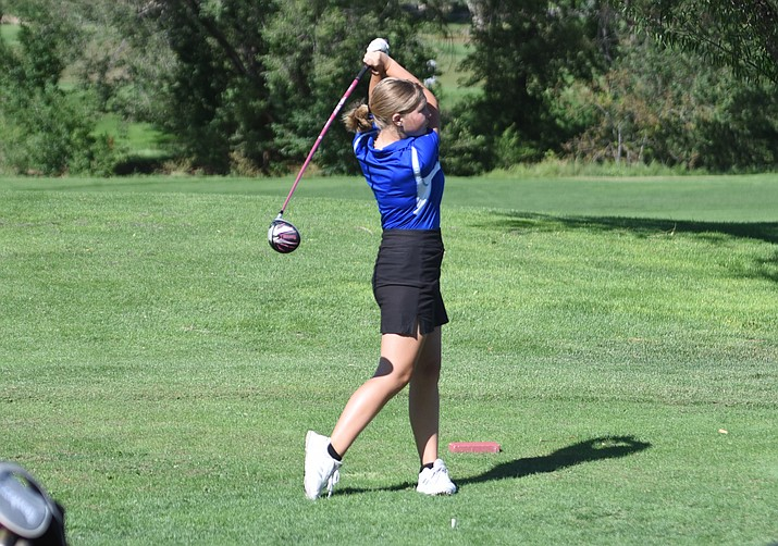 Prescott golf's Karlee Molster tees off during a match against Bradshaw Mountain and Saguaro on Wednesday, Sept. 22, 2021, at Antelope Hills Golf Course in Prescott. (Jesse Bertel/Courier)