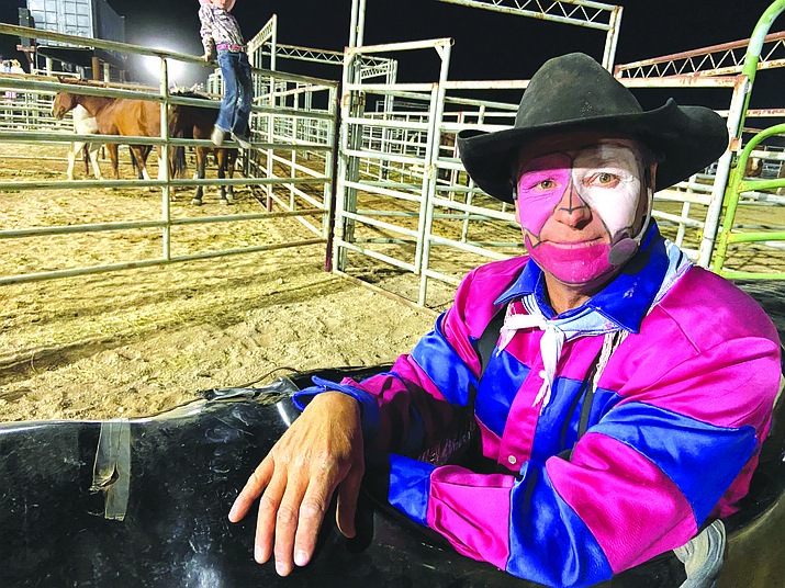 In this undated file photo, Bob Weir is dressed up as a rodeo clown for the annual Fort Verde Days Rodeo, an event he is scheduled to participate in yet again in 2021. The 2021 Fort Verde Day's Rodeo is set for Friday and Saturday, Oct. 8 and 9, at the Equestrian Center. (Independent file photo)