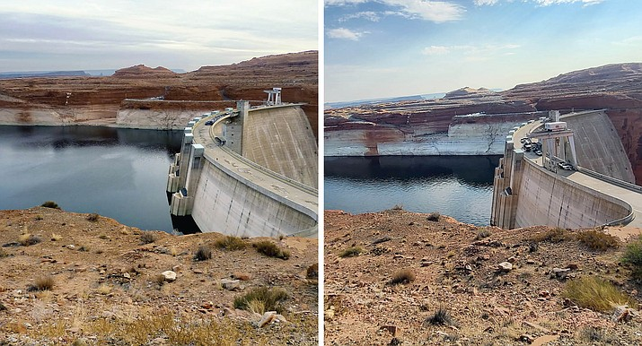 Left: Lake Powell at the Glen Canyon Dam wall in a 2010 photo, when the lake was at more typical levels. (T. Ross Reeve/U.S. Bureau of Reclamation, via Cronkite) Right: Lake Powell at the Glen Canyon Dam wall on Aug. 18, 2021, as the lake was at historic lows. (U.S. Bureau of Reclamation, via Cronkite)
