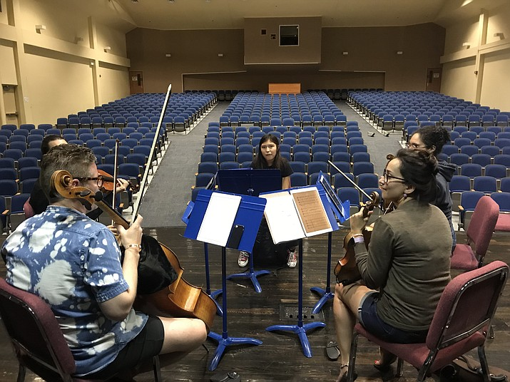 Arika Morningstar during a workshop with the Catalyst Quartet during NACAP 2019.  (Submitted photo)