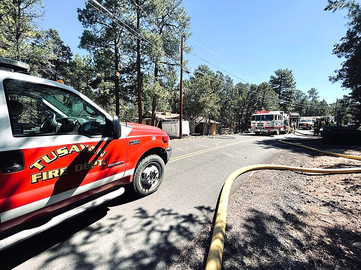 Tusayan Fire District and Grand Canyon National Park fire units respond to a structure fire in Grand Canyon Village Sept. 22. (Photo/Tusayan Fire District)
